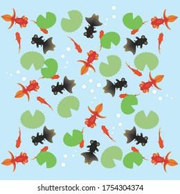 Red goldfish, black goldfish, aquatic plants with lots of goldfish swimming
