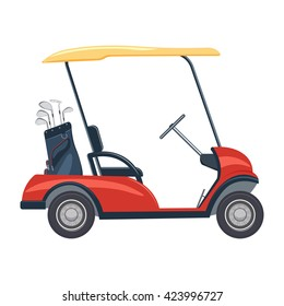 red golf cart vector illustration. golf car isolated on a white background