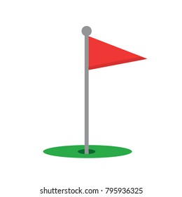 Red golf flag isolated on white background. Golf flag icon. Vector stock.