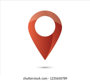 Red GPS Map pin sign location icon with ellipse gray gradient shadow in flat simple style