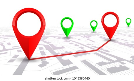 Red GPS navigator pointer on city map, from place to place – for stock