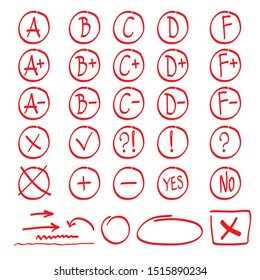 Red Grade results set isolated on white background. Red doodle hand drawn A, B, C, D, F, arrows, plus, minus, tick, cross, yes, no, interrogative and exclamation mark.