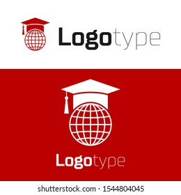 Red Graduation cap on globe icon isolated on white background. World education symbol. Online learning or e-learning concept. Logo design template element. Vector Illustration