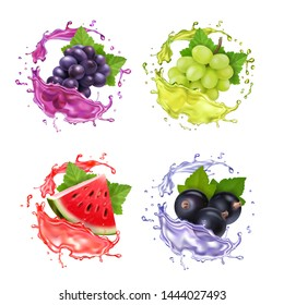 Red grape, white grape, black currant and watermelon juice splash realistic vector icon set
