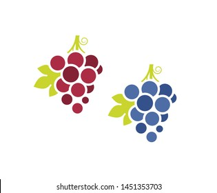 Red grapes and blue grapes. Icon set. Fresh fruit with leaves on white background. Sweet food