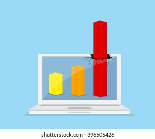 up red graph breaking through from monitor laptop, business success concept vector illustration