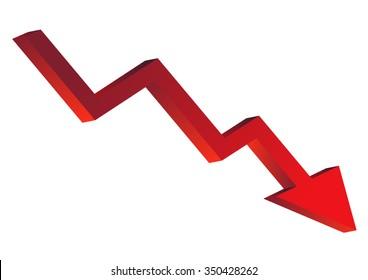 red graph decrease. vector illustration
