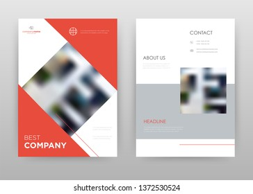 Red gray business annual report brochure flyer design. Multipurpose abstract brochure template, include cover and back pages. Geometric rectangle flyer leaflet vector design. Vertical A4 format.
