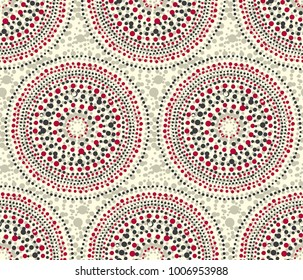 Red and gray geometry texture pattern. Tribal dot in circle shapes repeatable motif. Vector illustration for surface design, background.