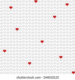 red and gray little hearts lovely romantic Valentine's day seamless pattern on white background