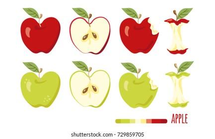 Red and green apple set. Half apple, bitten apple, apple stump icons.