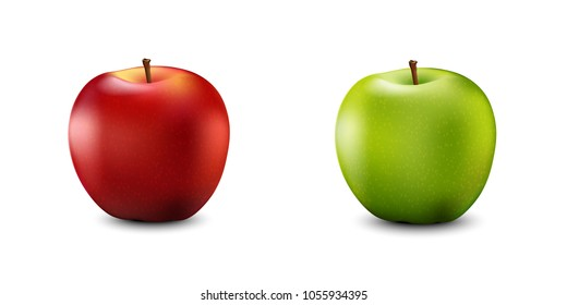 Red and Green Apple Set. Realistic 3d apples. Detailed 3d Illustration Isolated On White. Design Element For Web Or Print Packaging. Vector Illustration.