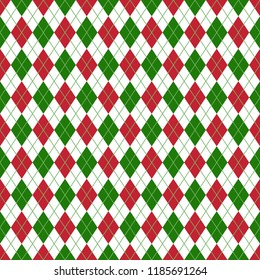 Red and Green Argyle Seamless Pattern - Red, white, and green argyle design