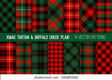 Red Green Black Christmas Tartan and Buffalo Check Plaid Vector Patterns. Rustic Xmas Backgrounds. Lumberjack Style Flannel Shirt Fabric Textures. Pattern Tile Swatches Included.