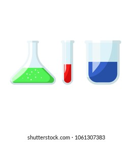 Red, Green, Blue liquid in Glass Laboratory flask