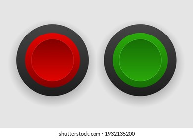 Red and green button vector isolated white background.