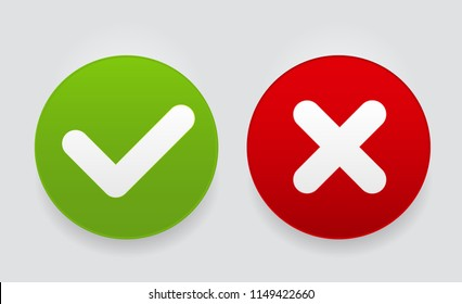 Red and Green Check Mark Icons Button Vector Illustration EPS10