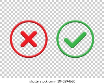Red and green check marks isolated on transparent background. Vector check mark icons.