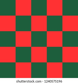 Red and green checkered background. Christmas and new year chess cage. Chess pattern. Chess cage. Traditional chess background. Vector illustration