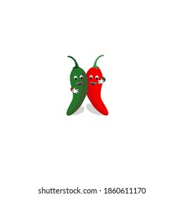 Red and green chili fresh fruit are hugging illustration vector background for sauce icon