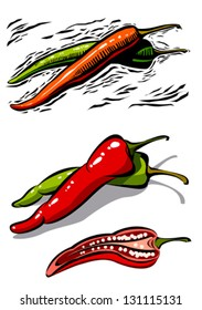 Red and green chili in woodcut style line art