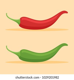 Red and green chilli peppers flat style icon on orange background. Vector illustration.