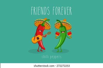 Red and green chilli peppers in a sombrero. Vector cartoon. Friends forever. Comic characters.