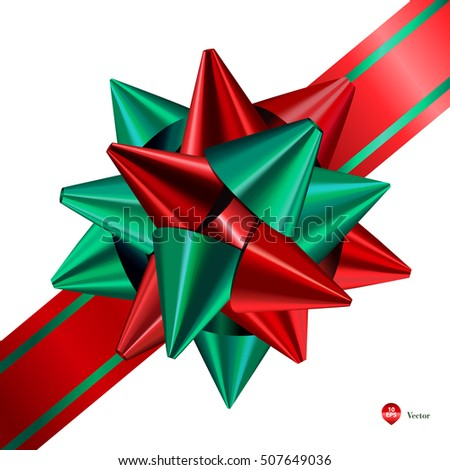 Red and green (Christmas) gift bows with ribbons . Detailed and realistic Vector illustration  sc 1 st  Shutterstock & Red Green Christmas Gift Bows Ribbons Stock Vector (Royalty Free ...