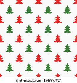 Red and green Christmas trees seamless pattern. Vector illustration.
