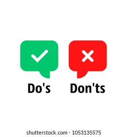 red and green do's and don'ts bubble. concept of rules of conduct for people like fail or incorrect decision. simple flat cartoon trend modern info logotype graphic design isolated on white background