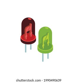 A red and green electronic LEDS (light emitting diod) on white background, vector illustration.
