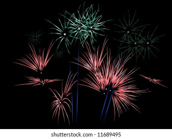 Red and green fireworks exploding (Vector)