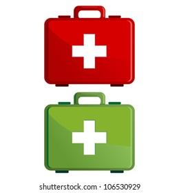 Red and green first aid kit case over white