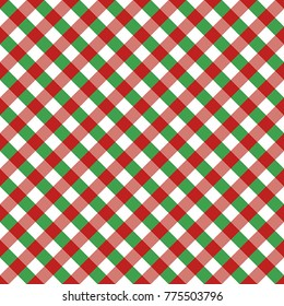 Red and Green Gingham tablecloth pattern. Christmas Diagonal Rhombus Squares Texture