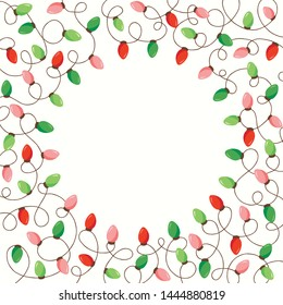 Red and Green Holiday Christmas and New Year Intertwined String Lights on White Background Square Round Frame. Winter Festive Holiday Print for Greeting Cards and Banner