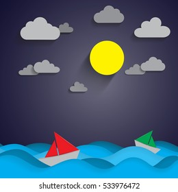 Red and green paper boat on blue sea and the moon on night sky with paper art style.