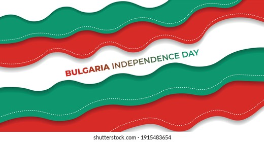 Red green paper cut background design. Bulgaria flag color background. good template for Bulgaria Independence Day or Liberation Day design.