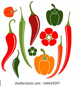 Red and green pepper. Chili pepper. Vector illustration