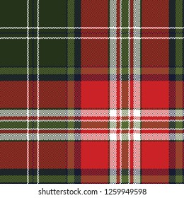 Red green plaid seamless fabric texture. Vector illustration.