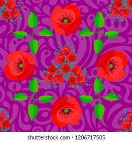 Red, green and purple poppies. Trendy vector seamless Floral Pattern.