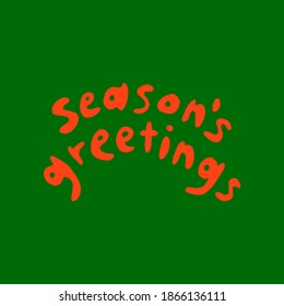 red and green seasons greetings holiday lettering