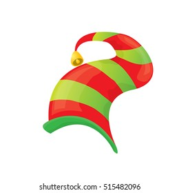 24957021541 red and green stripped cartoon christmas elf hat isolated on white. vector  illustration