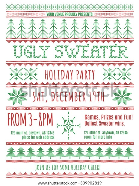 Red Green Ugly Christmas Sweater Party Stock Vector Royalty Free