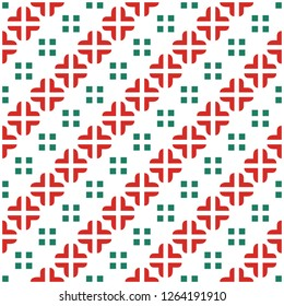 Red green vector seamless pattern. Modern stylish texture with square traingle and plus. Repeating geometric. Simple graphic design.