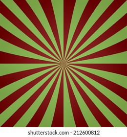 Red green vintage striped ray background - vector version