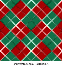 Red Green White Chess Board Christmas Background. Vector Illustration.