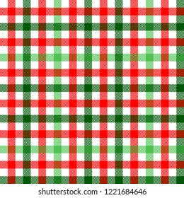 Red green and white tartan traditional fabric seamless pattern, vector