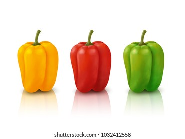 Red, green and yellow peppers, isolated vector.