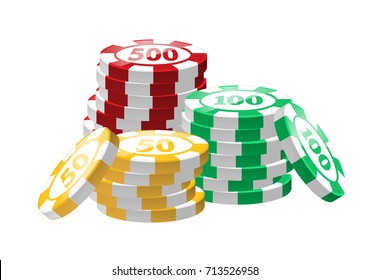 Red, green, yellow poker chips - modern vector isolated clip art on white background. Three stacks. Casino, gambling, luck, fortune concept