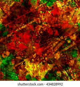Red, green and yellow triangular elements, crystals, thin straight lines, scratches, streaks & spots randomly mixed. Easy editing. Abstract seamless vector background. Grunge pattern.